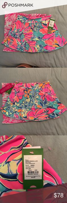 Lilly Pulitzer UPF 50+ Sierra Skort NWT.  Seaside Aqua Breezy Babe.  Never been worn.  Pet-friendly home.  Smoke-free home.  Perfect for summer! Lilly Pulitzer Shorts Skorts