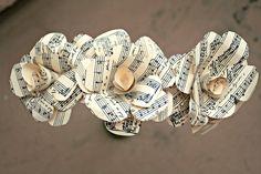 Set of Three Handmade Sheet Music Pattern Paper Roses Wedding Decoration - Wedding Favor. $13.50, via Etsy.