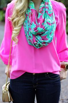 Lilly Pulitzer Elsa Top & Riley Infinity Loop Scarf styled by  @devonalana7