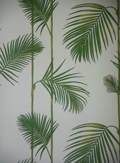 Green Palm Leaf Wallpaper - Caicos Fern - Lime Leaves - Smooth Tropical - 10695