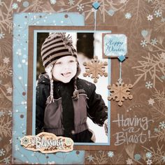 Sweet Winter Layout...with snowflakes. by leanne