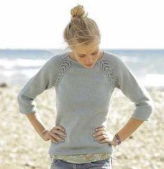 Free Knitting Pattern for a Raglan Lace Sweater