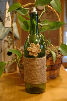 Spring Fling Twine Wrapped Wine Bottle Oil by PineknobsAndCrickets, $20.00