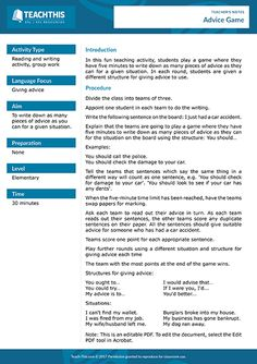 Giving Advice ESL Games Activities Worksheets Teaching Activities, Help Teaching, Teaching Resources, High School Hacks, School Tips, English Teaching Materials, Writing Prompts Funny, Healthy Meals For Two, Healthy Eating