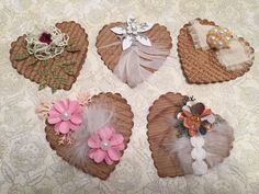 Hearts, Victorian Shabby, Embellishment, Scrapbooking, Cards, Tags, Decoration, Holiday, Package Toppers, Gift Wrap, Shabby Chic, Valentines by CraftStuffDepot on Etsy Scrapbook Cards, Scrapbooking, Shabby Chic Hearts, Pot A Crayon, Candy Cards, Heart Decorations, Scrapbook Embellishments, Cardmaking, Paper Crafts