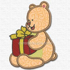 Free Embroidery Design: Bear with a Gift - I Sew Free