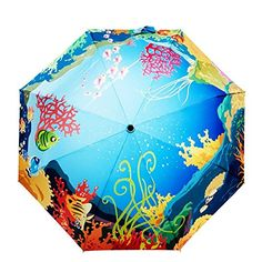 Fishon Too-Sun Umbrella Underwater World Custom Auto Foldable Sun Rain Anti-UV Umbrella * See this awesome image  : Umbrella Racks