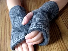 recycled wool sweater fingerless gloves by Wooly Wooly of course