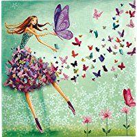 Postkarte 14 x 14cm ~ Mila Marquis ~ Frau mit Schmetterlingen