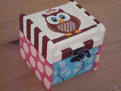 Painted Owl Wood Keepsake Box
