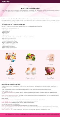 Complete information about How To Increase Breast Size Naturally with the help of Exercise, foods & diet, natural supplement cream & pills and Surgical options. http://www.breasthow.com/how-to-increase-breast-size-naturally/