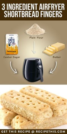 Three Ingredient Air fryer Shortbread Fingers Recipe This is part of Air fryer recipes - Welcome to our three ingredient airfryer shortbread fingers I know we only had shortbread yesterday but what can I say other than that I am a huge shortbread… Air Fryer Dinner Recipes, Air Fryer Recipes Easy, Oven Recipes, Cooker Recipes, Dump Recipes, Eggless Recipes, Delicious Recipes, Phillips Air Fryer, Bread Recipes