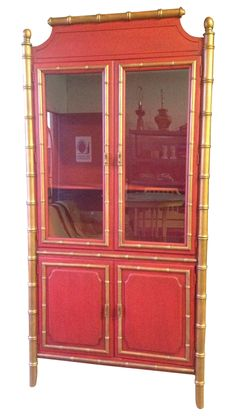 Faux Bamboo China Cabinet by CottageTreasuresLV on Etsy | Faux ...