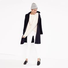 J.Crew Looks We Love: women's double-cloth lady day coat with Thinsulate®, pointelle cable sweater, matchstick Cone Denim® jean in white, Saint James® cartier Breton hat and Biella tassel loafers.