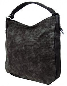 Šmrncovní kabelka na rameno z broušené kůže TH2011 černá - Kliknutím zobrazíte detail obrázku.
