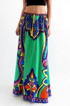 Flying Tomato Green Print Maxi Skirt - Slimskii Couture