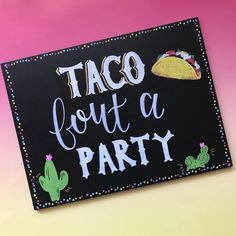 This Taco bout a party chalkboard sign was made for Taco Tuesdays and Cinco de Mayo! Each chalkboard sign is hand-lettered by me with a fun western font and script letters. The border is lined with tortilla chip confetti. Complete with cute cactus and taco illustrations, this hand lettered sign will be the centerpiece of your party!  *Use a small easel to prop up this sign or attach fasteners to the back if you prefer to hang it. Sign measures 9x12.  If you would prefer a custom phrase…