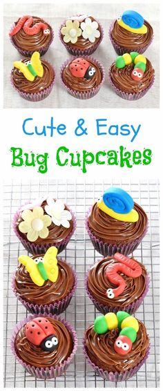 Cute and Easy Bug Themed Chocolate Cupcakes Recipe - perfect for kids parties - Eats Amazing UK