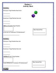 Overestimating and Underestimating Game and Activity Sheet