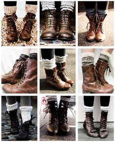 Brown boots and chunky socks are on my want list this year. Love this look!