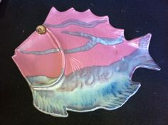 """$1.99 handmade pottery fish shaped chip and dip plate. About 24"""" long. Signed Collisin. Found at Goodwill."""