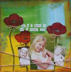 this gorgeous layout by Marion Werren using some paint and masks and also using the Donna Downey poppies stamps