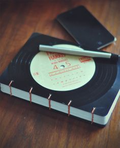 Recycled Lp Vinyl Record Coptic Journal