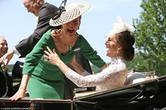 Both women saw the funny side as Kate was forced to steady her royal counterpart while Wil...