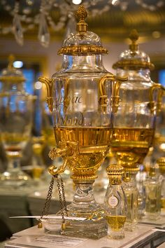 """The perfume house of Caron opened in 1904 in Paris. The crystal """"fountains"""" or urns were designed by Baccarat."""