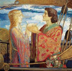 Tristan and Isolde by John Duncan  Date painted: 1912 Tempera on canvas, 76.6 x 76.6 cm Collection: City of Edinburgh Council