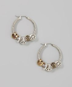 Take a look at this Silver & Gold Peace Hoop Earrings by Mica on #zulily today! $12 !!