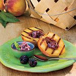 Grilled Peaches with Blackberry-Basil Butter...maybe use butter to toast cakes in a pan. Serve with sliced grilled peaches sliced blackberries in blackberry basil sauce and corn ice cream.