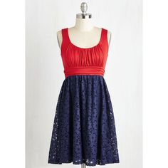 Americana Mid-length Sleeveless Empire Artisan Iced Tea Dress ($50) ❤ liked on Polyvore
