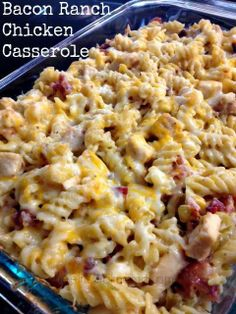 Bacon Ranch Chicken Casserole! To get recipe, click here: https://www.facebook.com/photo.php?fbid=10202533126663012&set=a.1631803388566.2081200.1041081714&type=1&theater