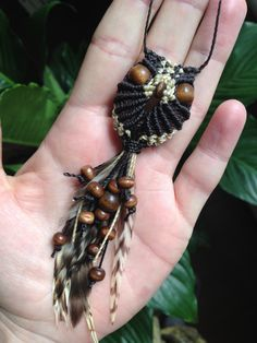 Macrame owl necklace with feathers adjustable by creationsmariposa