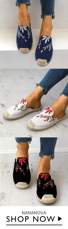 b185d9e7c96f Women Fashion Embroidered Espadrille Flat Painted Canvas Shoes