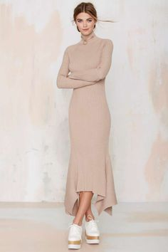 Nasty Gal Kozmic Ribbed Knit Maxi Dress - Tan | Shop Clothes at Nasty Gal!