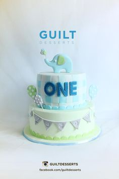 Mint & Baby Blue Checkered and Bunting Elephant Cake (Mason)