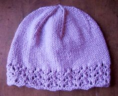 http://www.ravelry.com/patterns/library/lace-edged-womens-hat  FREE pattern from ravelry