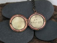 A reminder that you are enough today. Just as you are. Yes. ::  a whispered hand stamped soul mantra locket