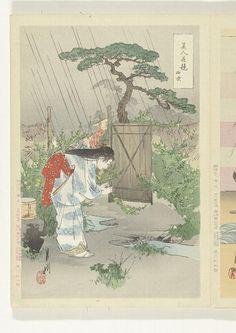 Titel(s)  Vrouw buigend over Yamabuki struik  Yamabuki (Japanse titel op object)  Vergelijkingen tussen schoonheden en bloemen (serietitel)  Bijin hana kurabe (Japanse serietitel op object)  Vervaardiger  naar ontwerp van: Ogata Gekko  (Tokyo 1859 - 1920) (vermeld op object)  plaats vervaardiging: Japan  prentmaker: anoniem  plaats vervaardiging: Japan  uitgever: Takekawa Risaburo (vermeld op object)  plaats vervaardiging: Japan  Datering  1887 - 1896