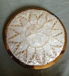 Vintage carved mother of pearl compact, English.