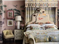 Kit Kemp at Bergdorf Goodman New York. British Design icon Kit Kemp and co-owner of Firmdale Hotels has launched her collaboration with… Blue Bedroom, Kids Bedroom, Bedroom Decor, Design Bedroom, Bedroom Nook, Casa Milano, Blue Curtains, Loft Spaces, Trendy Home
