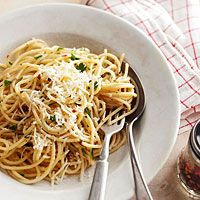 Aglio e Olio: Pasta gets a light coating of fresh Pecorino Romano cheese, a dash of olive oil, garlic and red pepper flakes for a simple and flavorful classic Italian dish.