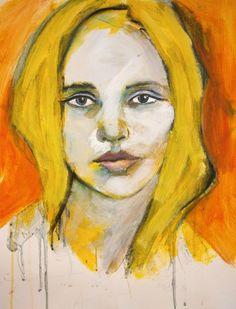 "ARTFINDER: Portrait "" Annabelle "" by richard  kuhn - acrylics on paper Größe/ Size: 65 x 50 cm   inch 25,6` x 19,7`"