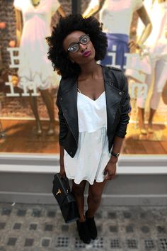 "the-luscious-curlbombs: "" blackfashion: "" Rimike Omolekulo, Londoner, 21st Birthday outfit! Topshop White Dress & leather Jacket Office Chelsea boots heeled Artist @ Rimiomolekulo.com Personal blog:..."