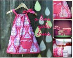 DIY Girls Clothes Refashion: How to make an a-line girls kids dress pillowcase