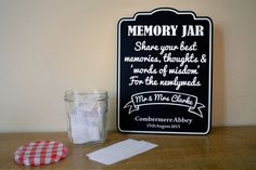 Personalised Wedding MEMORY JAR chalkboard sign - Alternative to guest book.