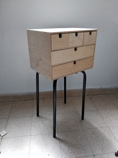 Two IKEA faves become a side table with drawers - IKEA Hackers Ikea Side Table, Side Table Decor, Side Table With Drawer, Stools With Drawers, Ikea Drawers, Office Furniture Design, Space Saving Furniture, Pipe Furniture, Cheap Furniture