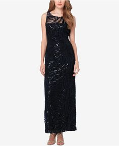 2e3794e4 Tahari Arthur S. Levine Illusion Top Sequined Embroidered Dress at Von Maur